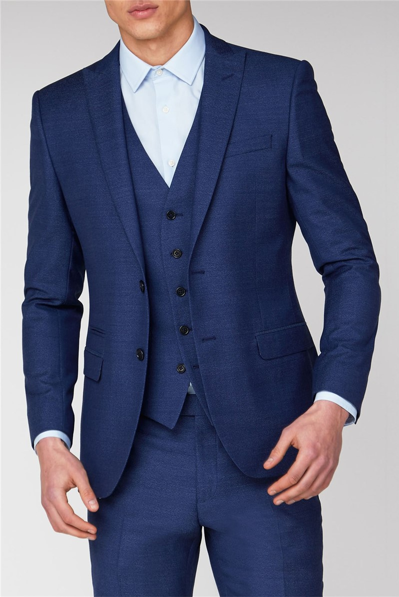 Ben Sherman Men S Blue Jaspe Slim Fit Suit Suit Direct