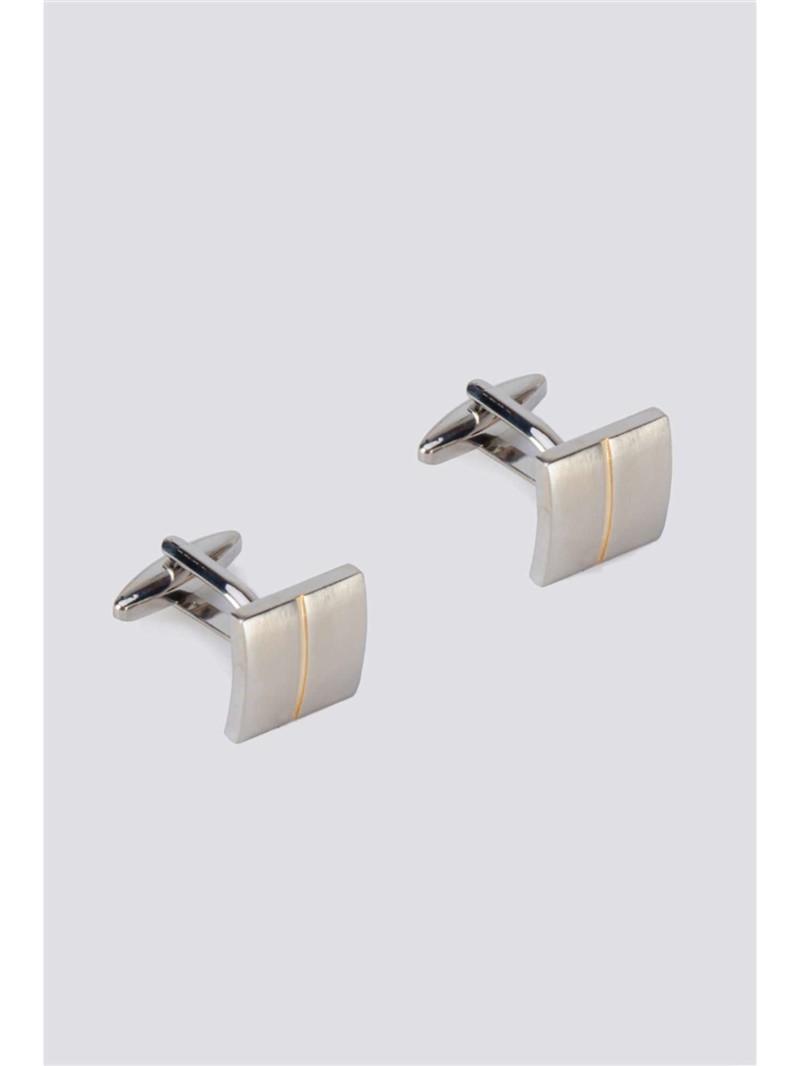 Silver Gold Stripe Cufflinks