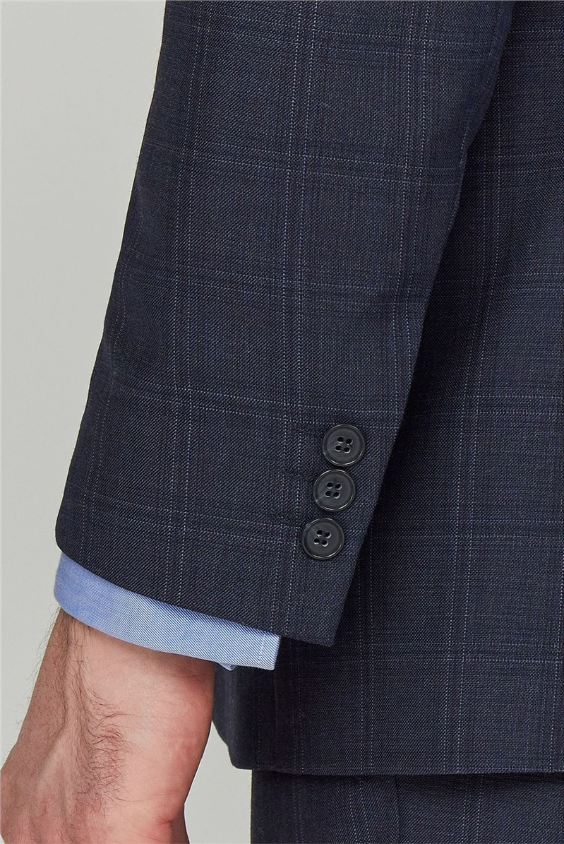Blue Check Performace Regular Fit Trousers