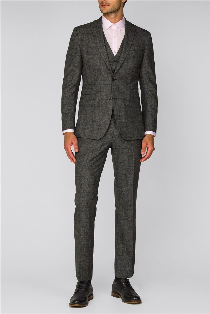 Grey Textured Check Suit