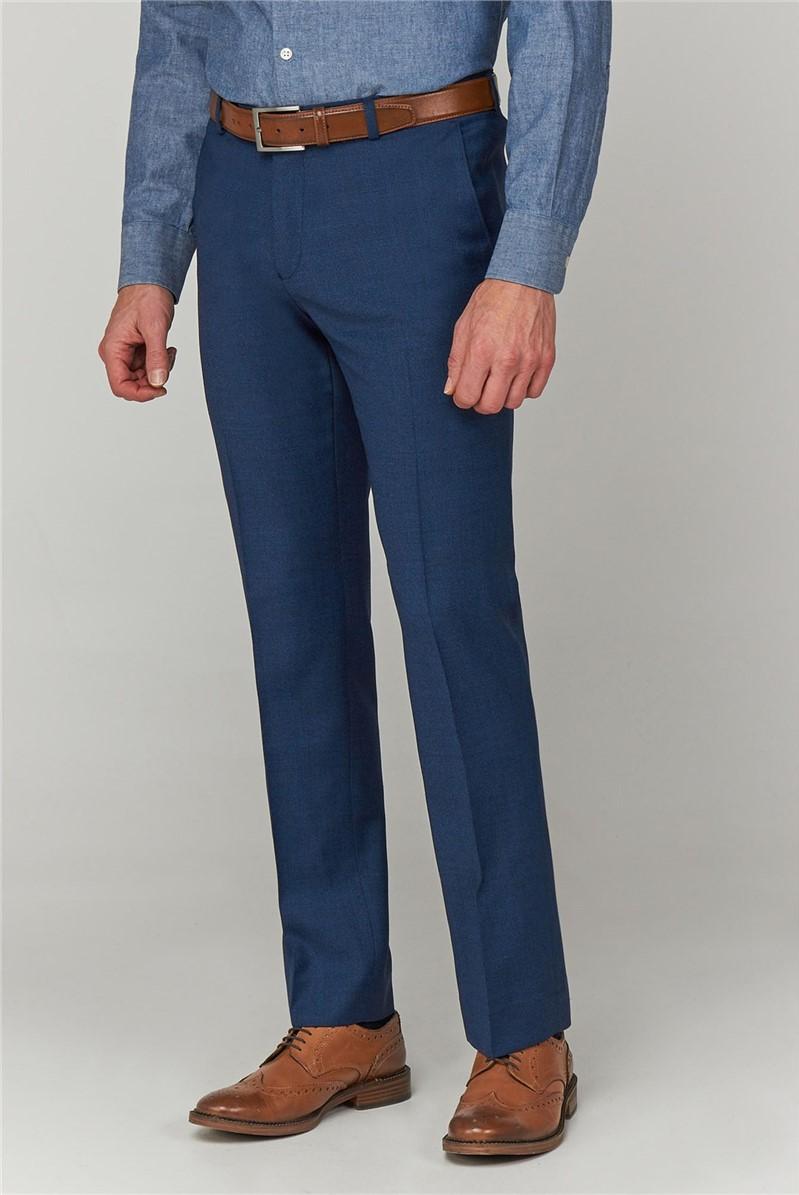 Blue Jaspe Textured Trousers