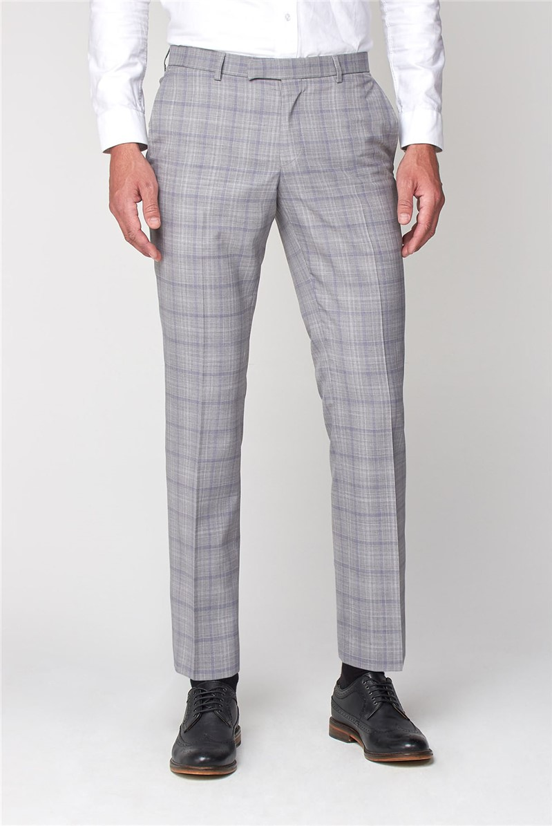 Pale Grey Lavender Check Tailored Fit Trousers