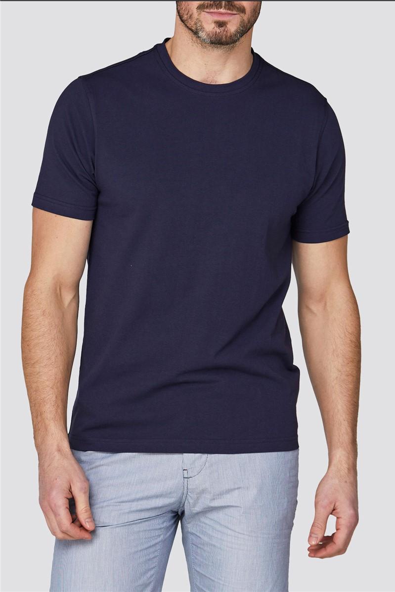 Navy Crew Neck Stretch T-Shirt