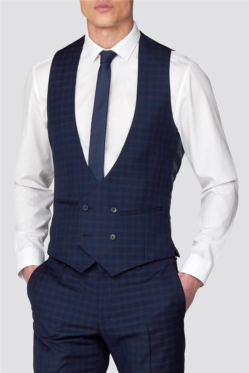 Branded Deep Blue Multi Checked Skinny Fit Waistcoat