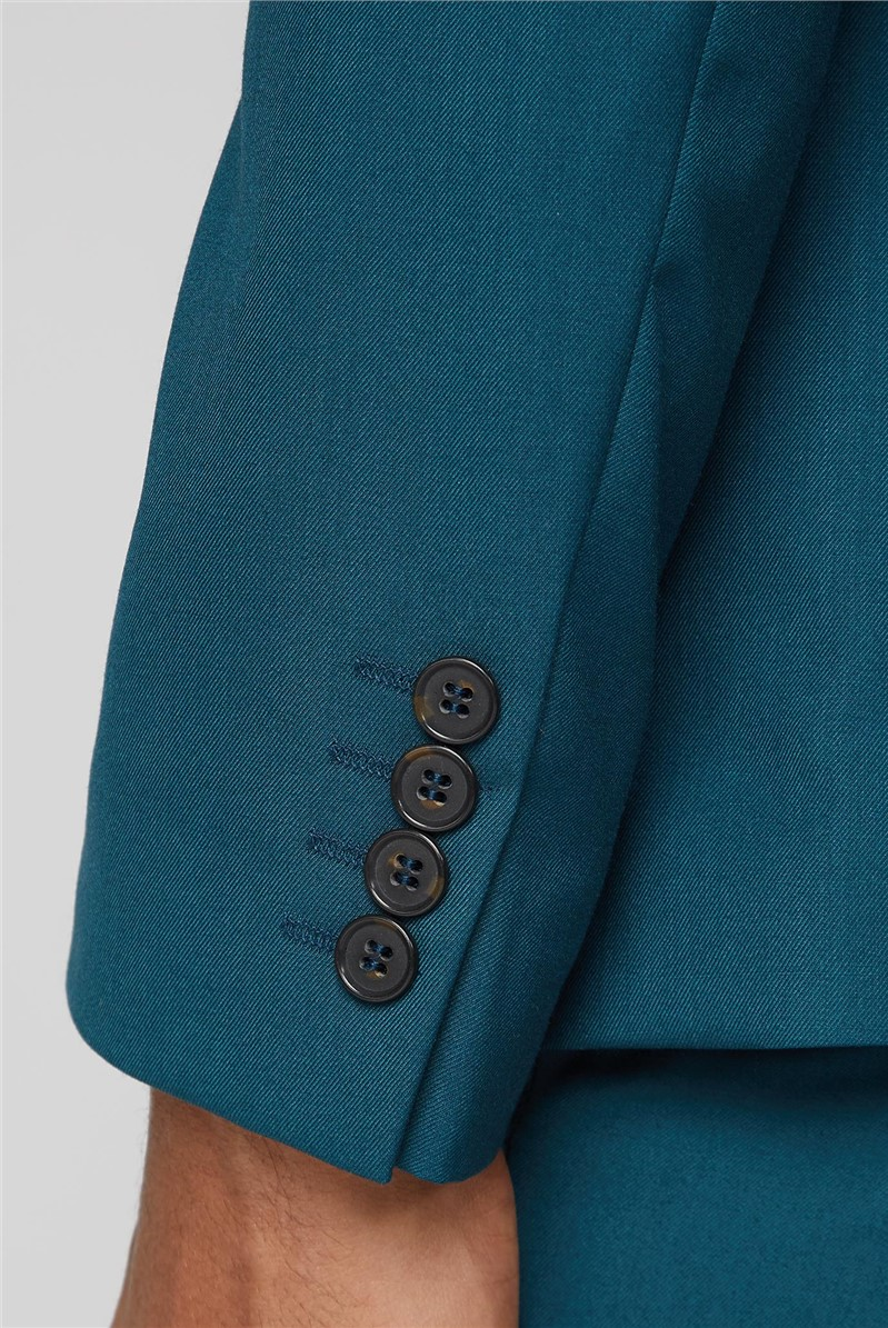 Teal Twill Skinny Fit Suit Trouser