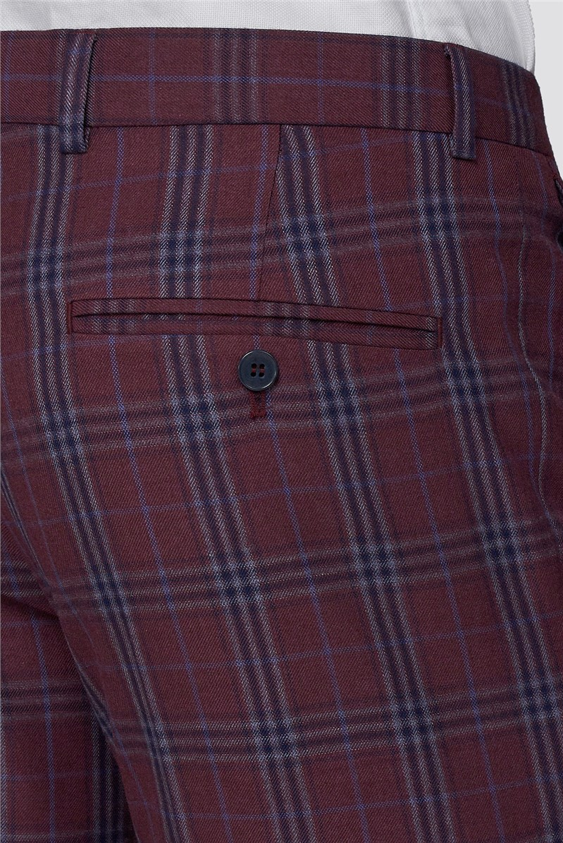 Branded Crimson Checked Skinny Fit Trousers