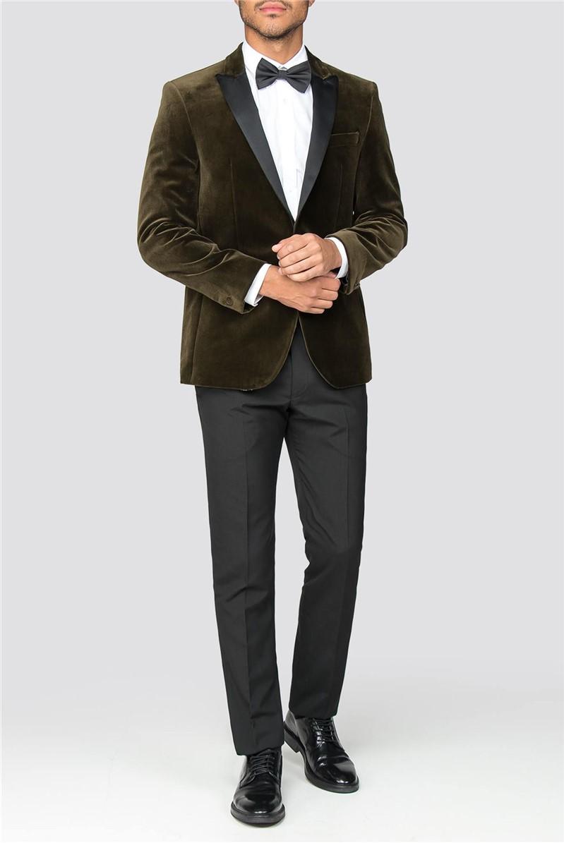 Olive Tailored Fit Men's Velvet Blazer
