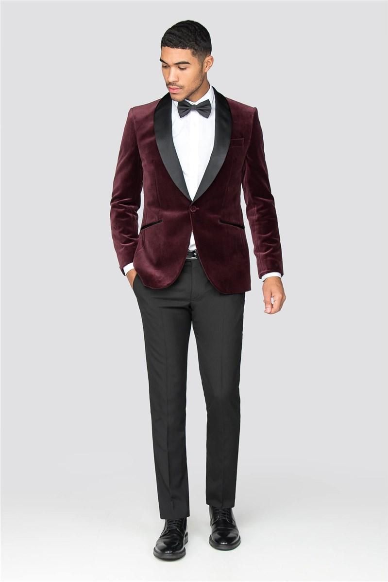 Burgundy Velvet Tailored Fit Tuxedo Jacket
