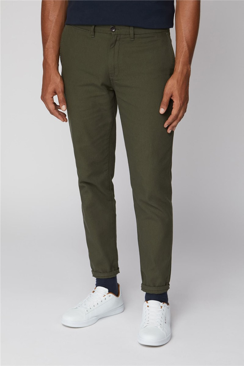 Green Canvas Slim Fit Chinos
