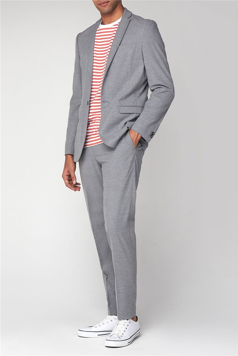 Tailoring Light Grey Flannel Unstructured Slim Jacket