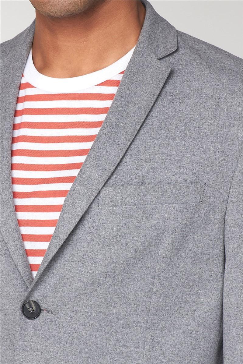 Tailoring Light Grey Flannel Unstructured Slim Jacket