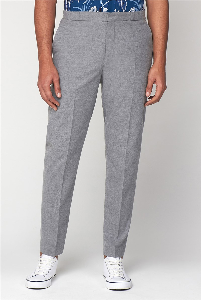 Light Grey Flannel Elasticated Slim Trousers