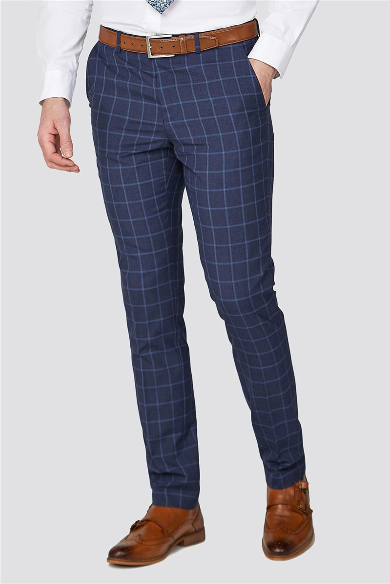 Stvdio Blue Windowpane Checked Slim Fit Ivy Trousers
