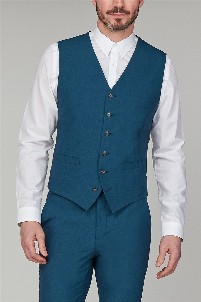 Stvdio Teal Plain Slim Fit Ivy League Waistcoat