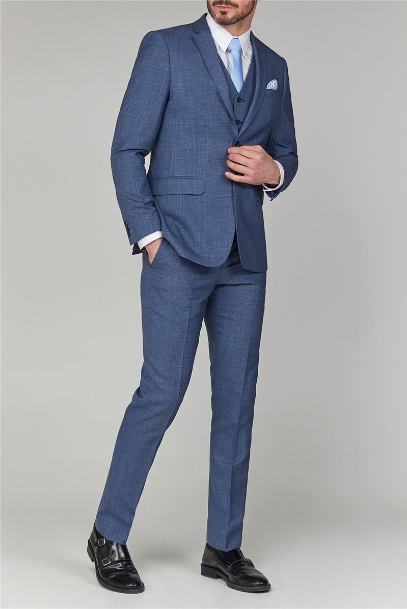 Stvdio Light Blue Speckle Windowpane Tailored Fit Suit
