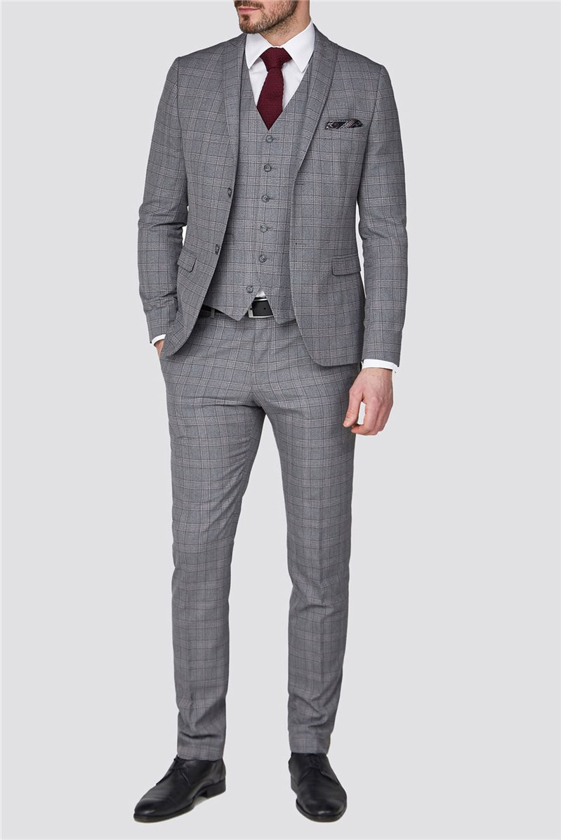 Stvdio Grey with Mulberry Check Super Slim Fit Brit Suit