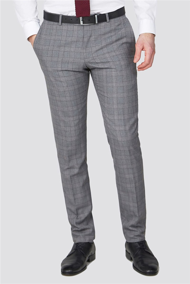 Stvdio Grey with Mulberry Check Super Slim Fit Brit Trousers