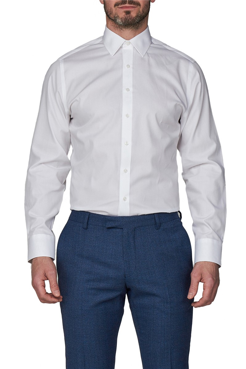White Single Cuff Half Cutaway Shirt