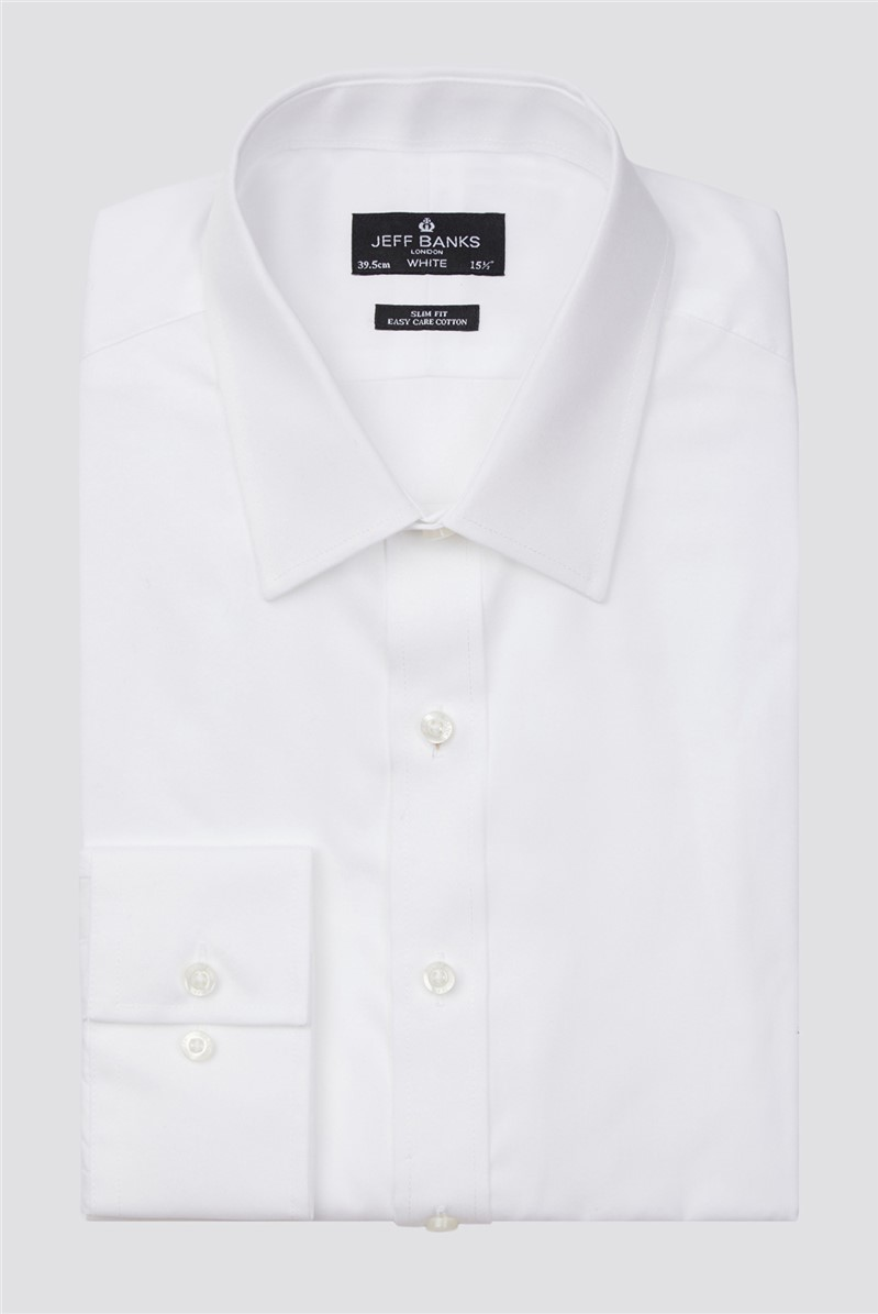 Jeff Banks White Single Cuff Forward Point Slim Shirt