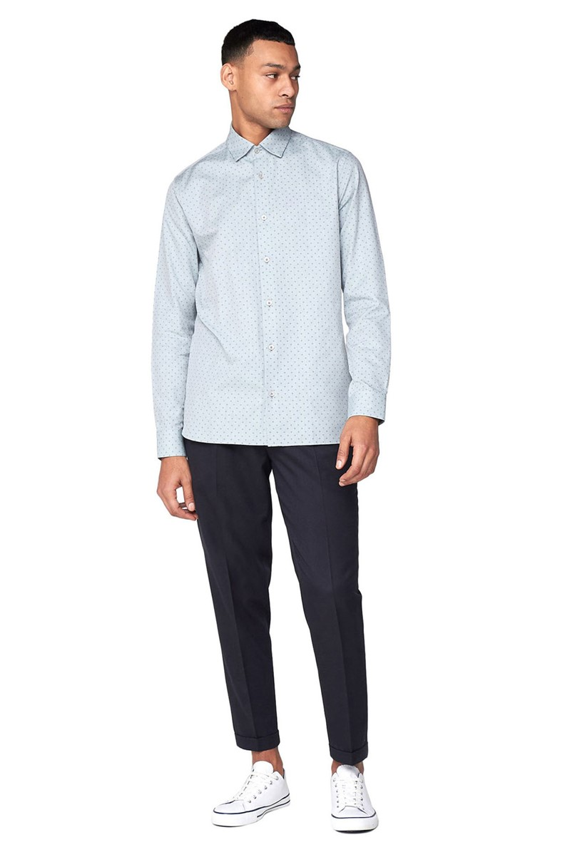 Long Sleeve Geometric Oxford Shirt