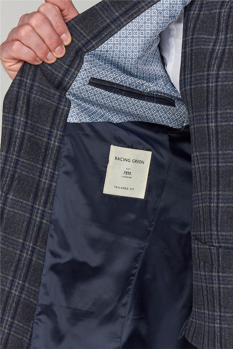 Blue and Grey Check Tailored Jacket