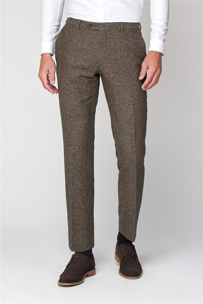 Oatmeal Texture Tailored Fit Trousers
