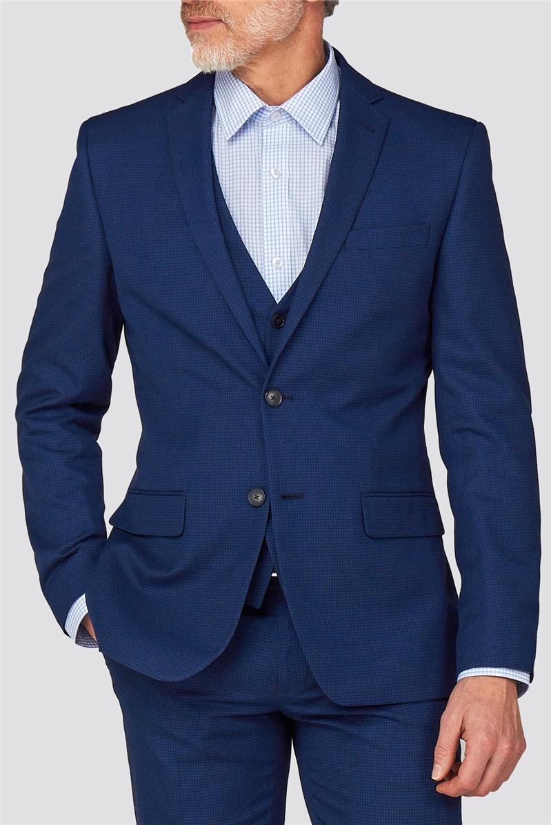 Branded Blue Semi-Plain Regular Fit Suit Trousers