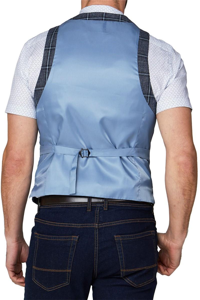 Stvdio Large Check Linen Blend Waistcoat