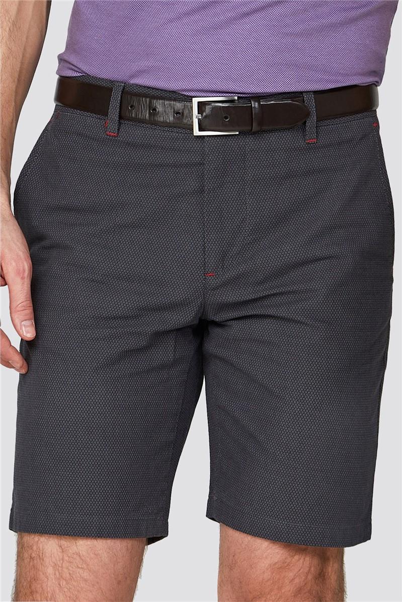 Grey Diamond Textured Shorts