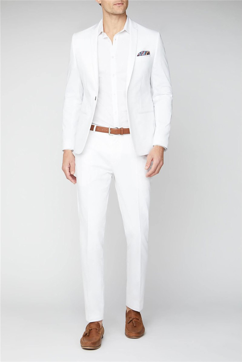 Malmo Skinny Fit Men's White Suit