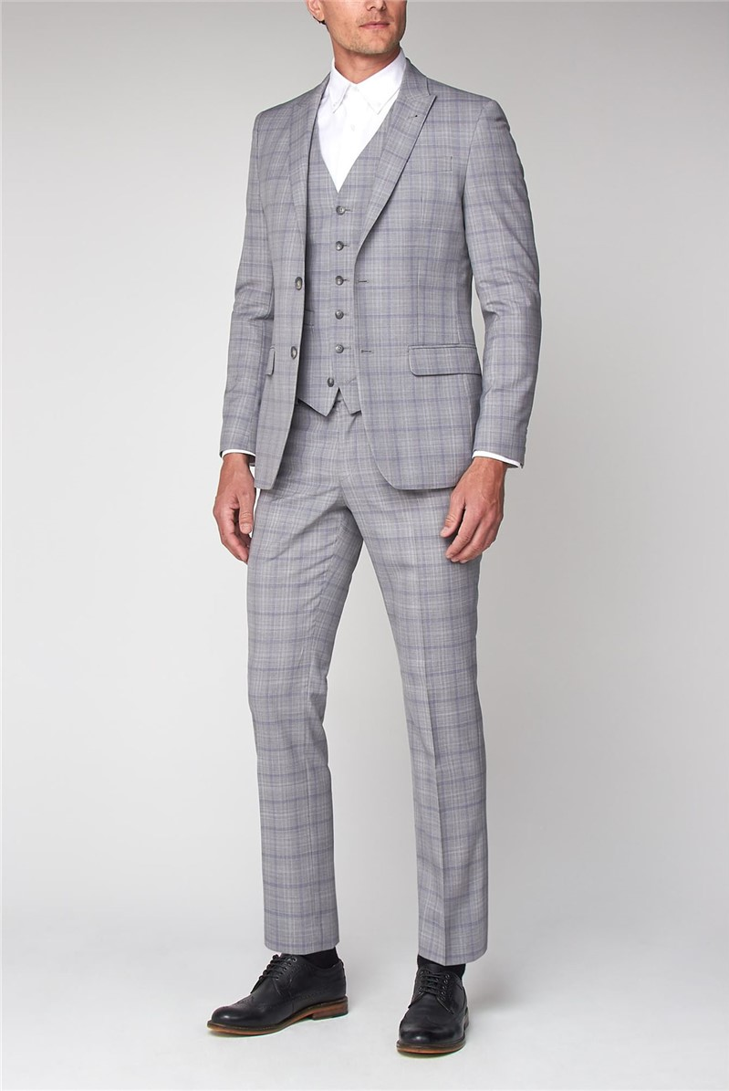 Pale Grey Lavender Check Slim Fit Suit