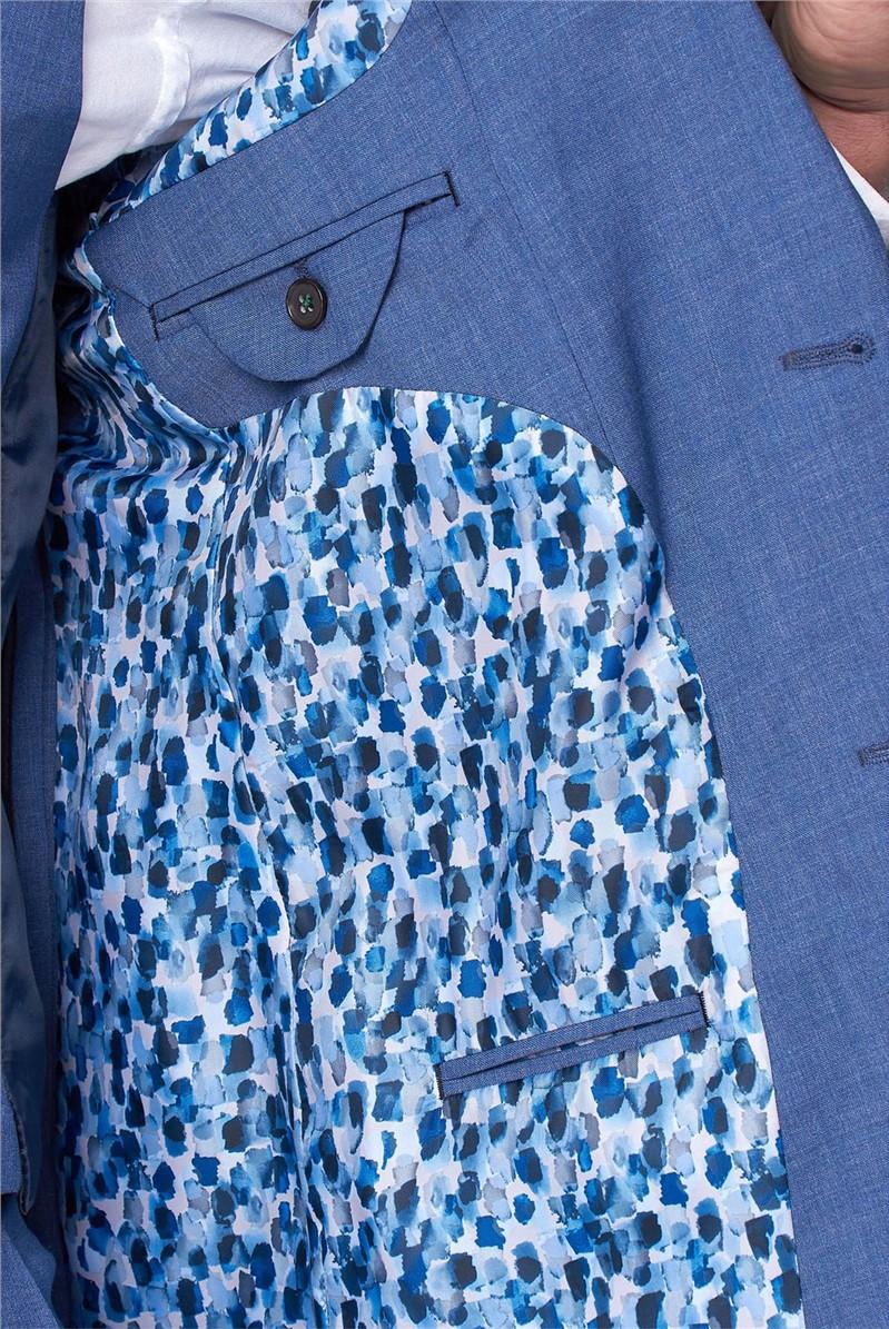 Dusky Blue Texture Slim Fit Trousers