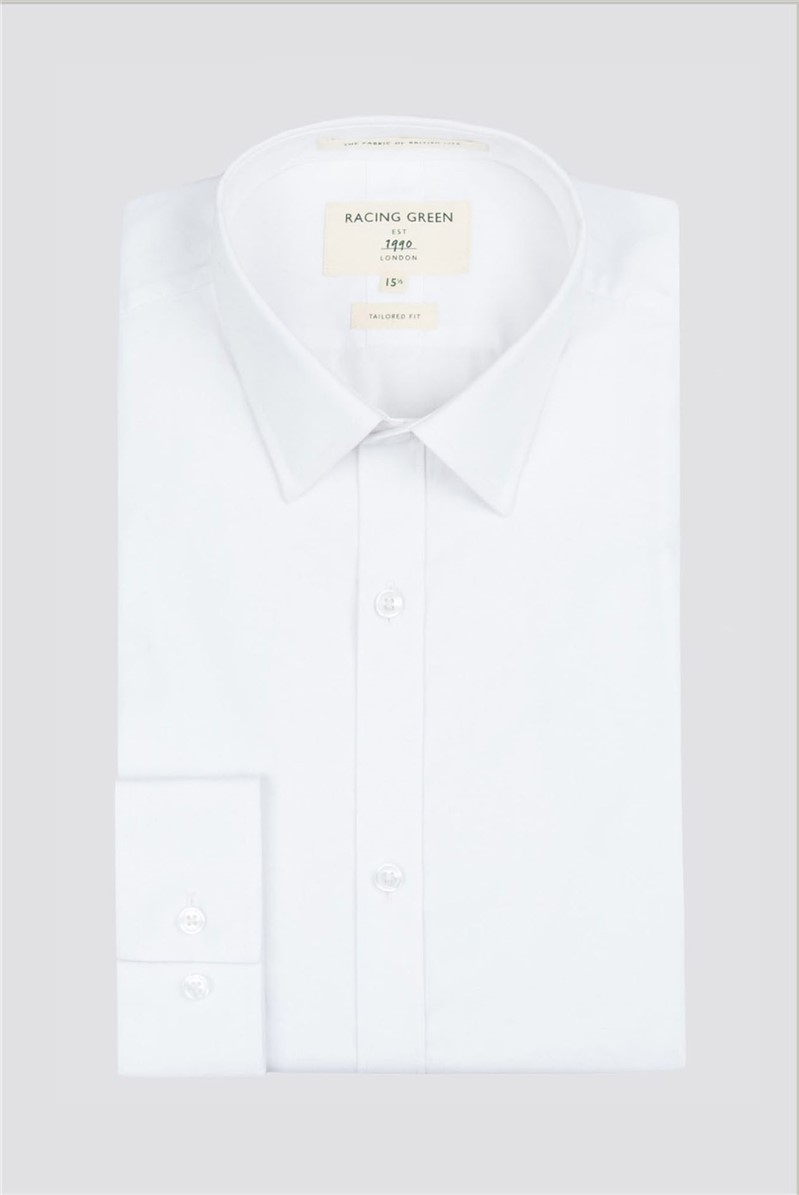 Racing Green White Poplin Single Cuff Shirt