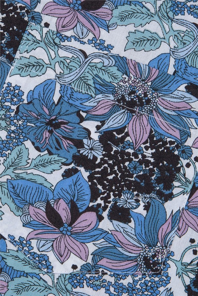 Blue Bold Floral Print Shirt