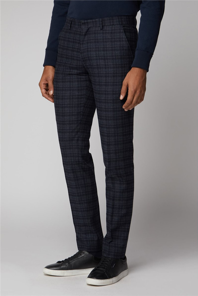Navy Charcoal Check Suit Trousers
