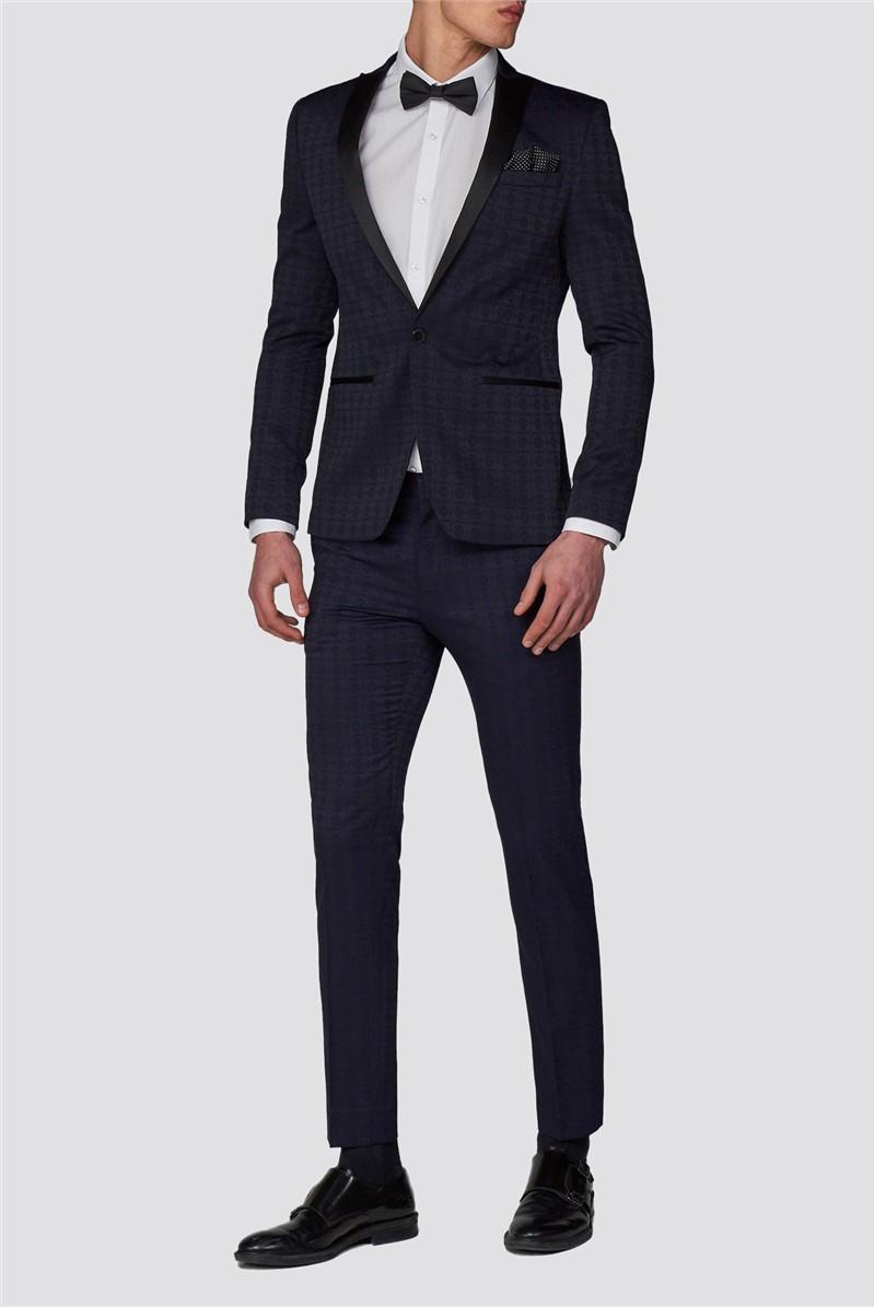 Navy Jacquard Skinny Tuxedo Suit
