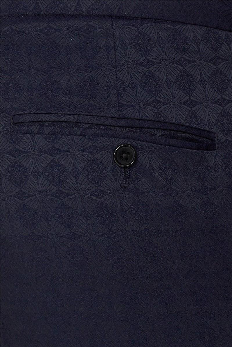 Branded Navy Jacquard Skinny Fit Tuxedo Trousers