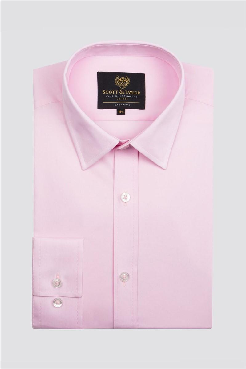 Scott & Taylor Pink Poplin Single Cuff Shirt