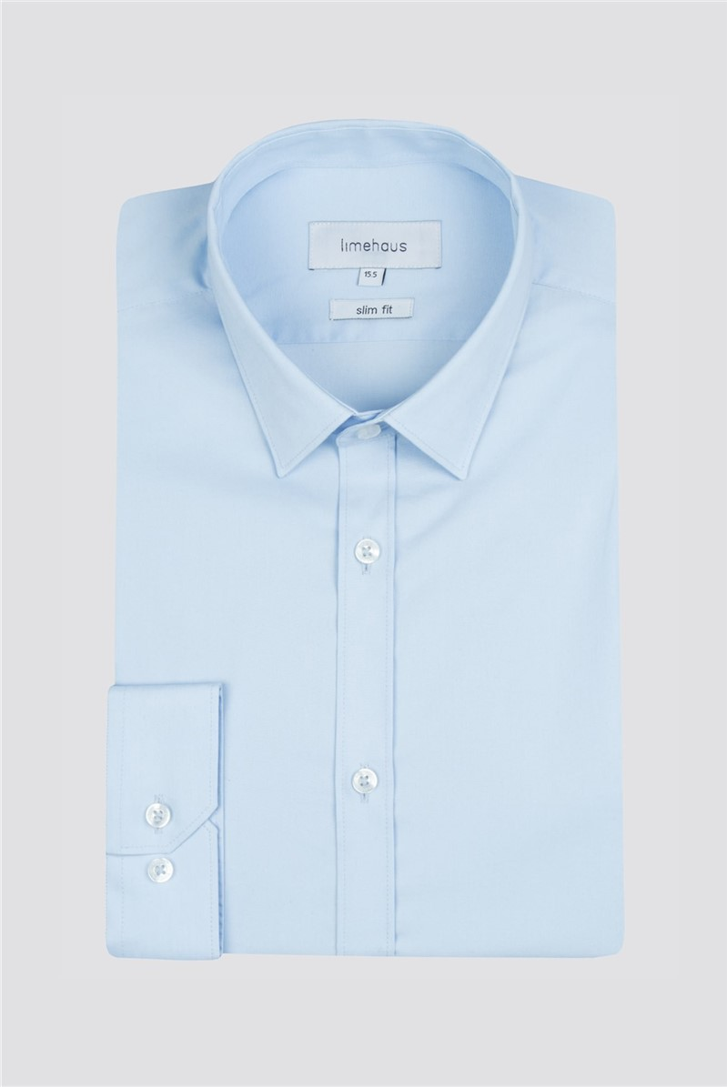 Limehaus Blue Poplin Single Cuff Shirt