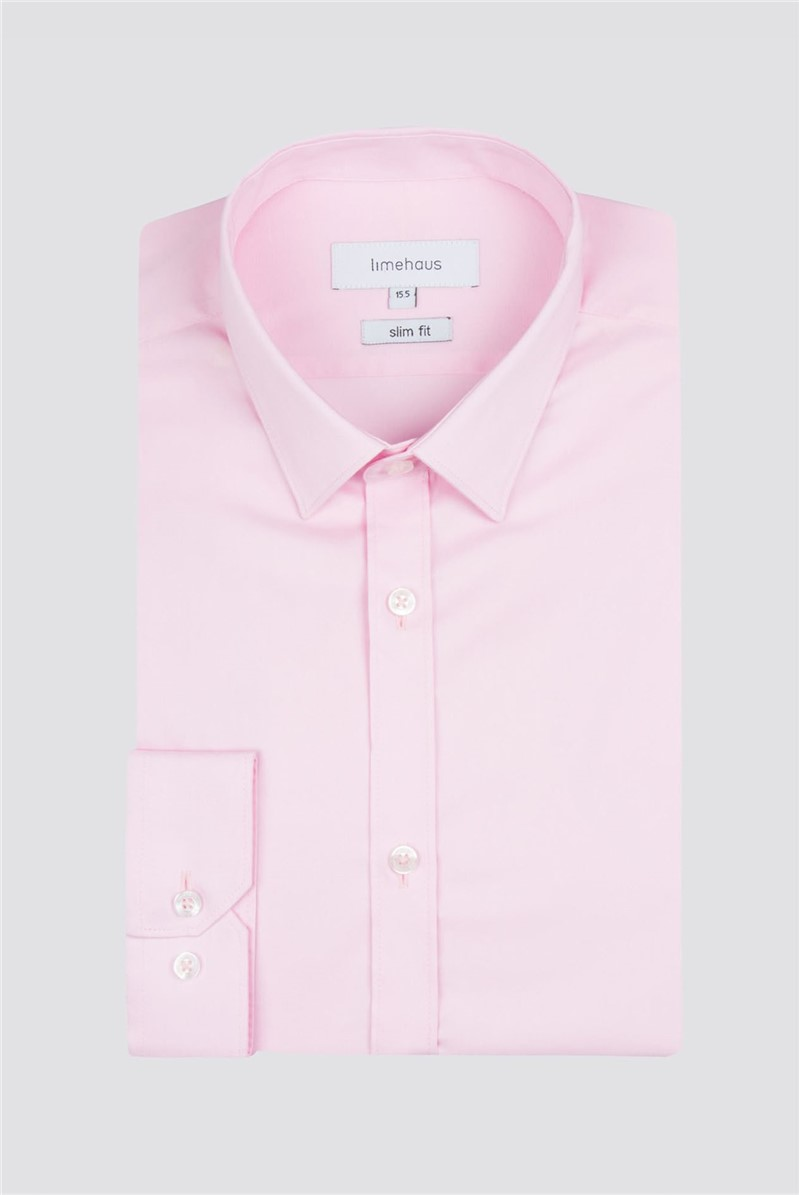Limehaus Pink Poplin Single Cuff Shirt