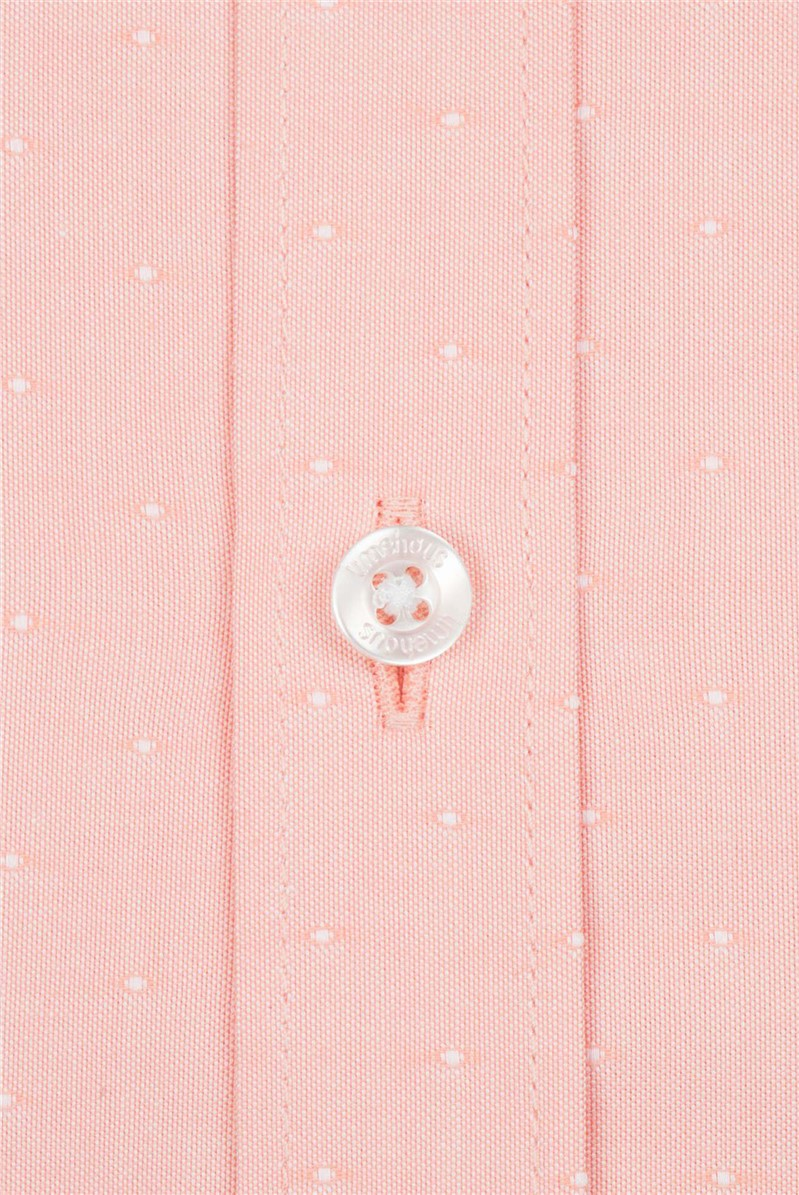 Peach Pastel Spot Slim Fit Shirt
