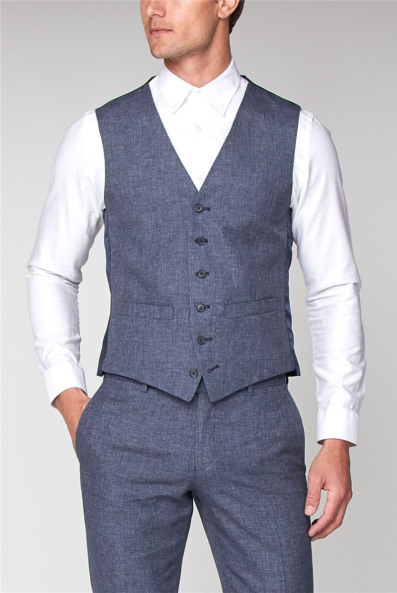 Ink Linen Tailored Fit Waistcoat