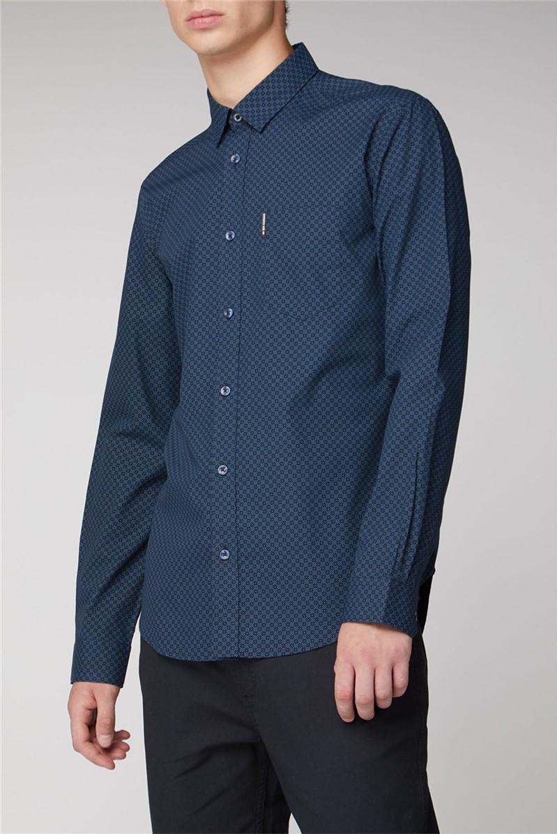 Long Sleeve Sketchy Micro Print Shirt