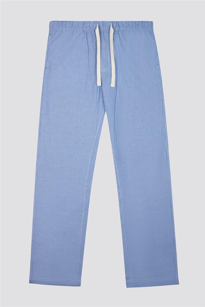 Blue Stripe Poplin Loungewear Bottoms