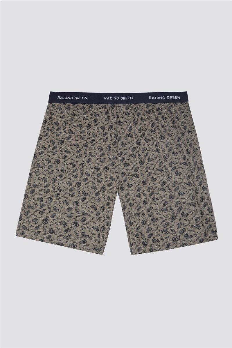 Printed Terry Cotton Loungewear Shorts