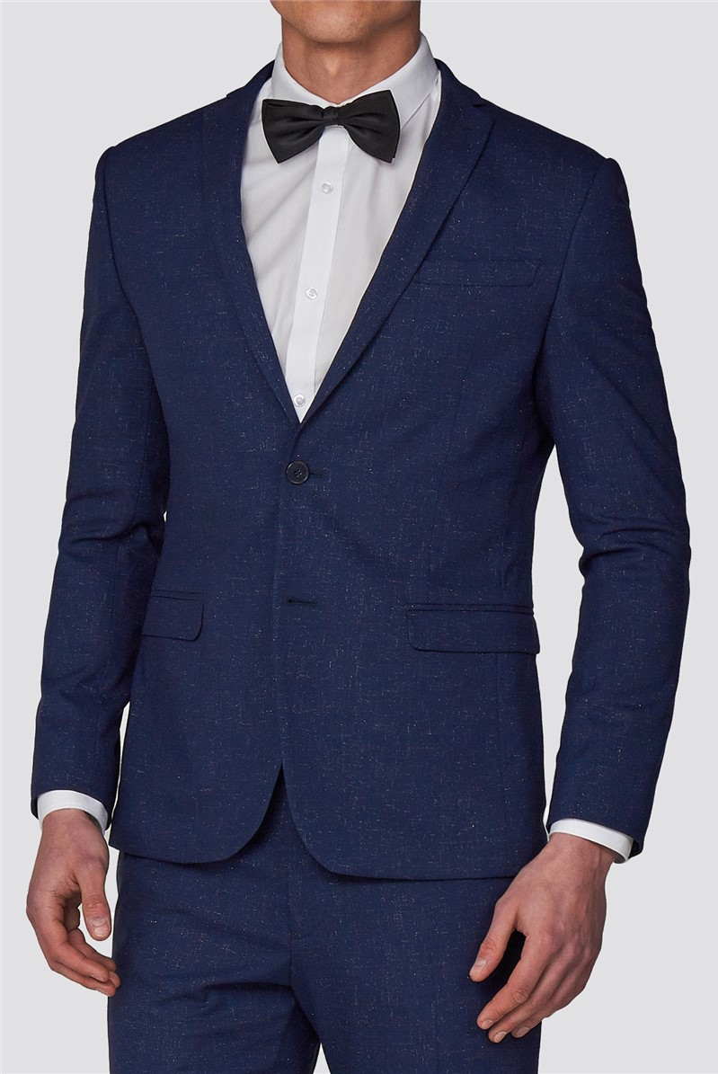 Branded Blue Glitter Flecked Skinny Fit Suit Trousers