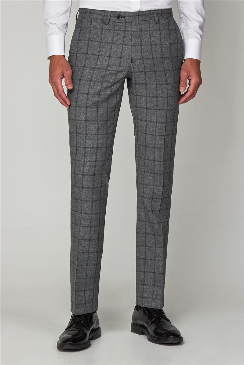 Grey Jaspe Windowpane Check Formal Suit Trouser