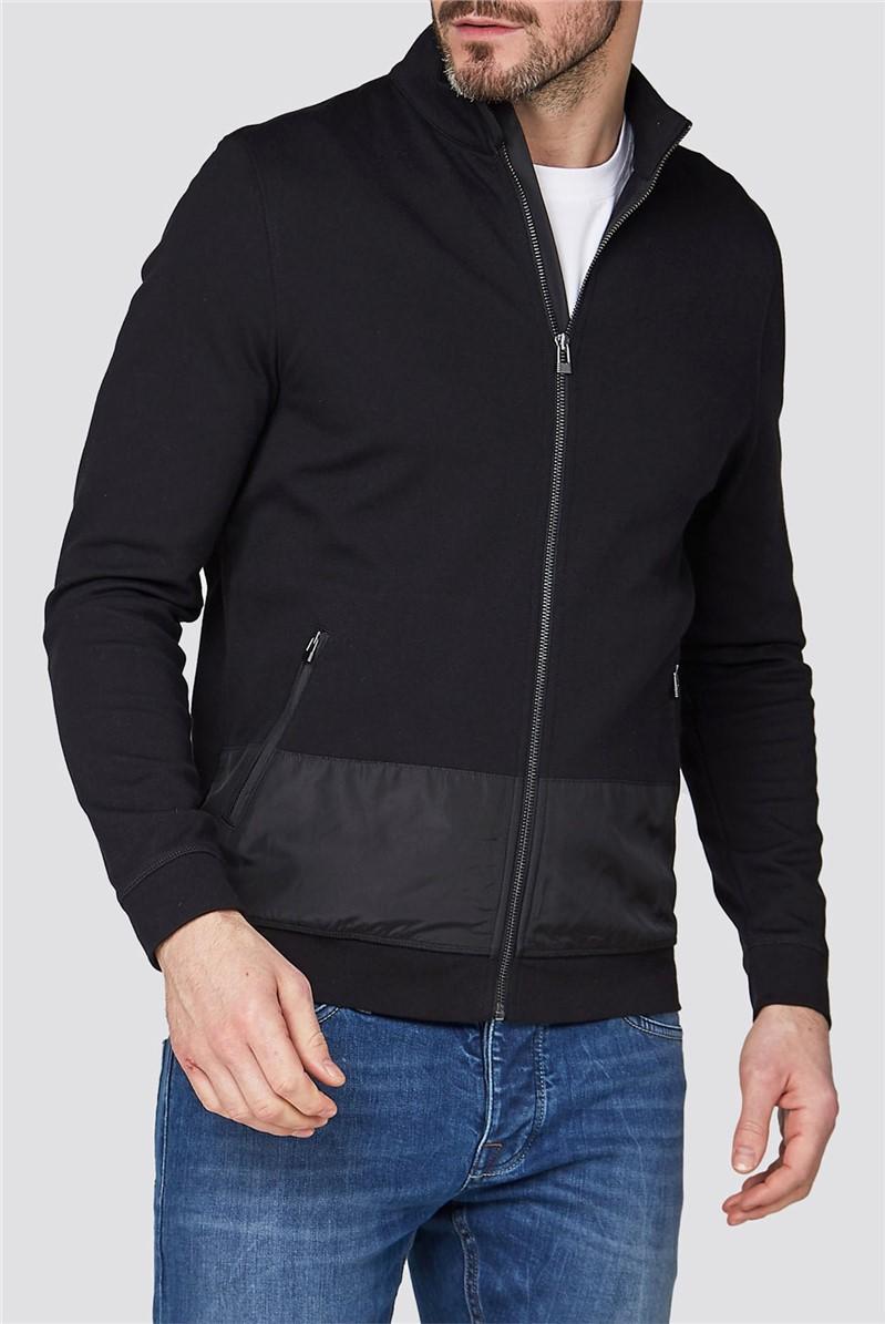 Black Jersey Zip Through Jacket