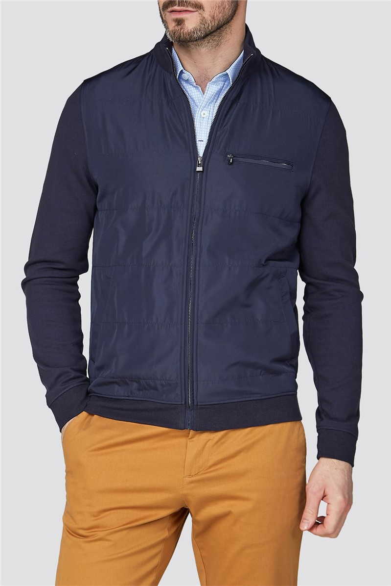 Blue Jersey Zip Through Jacket