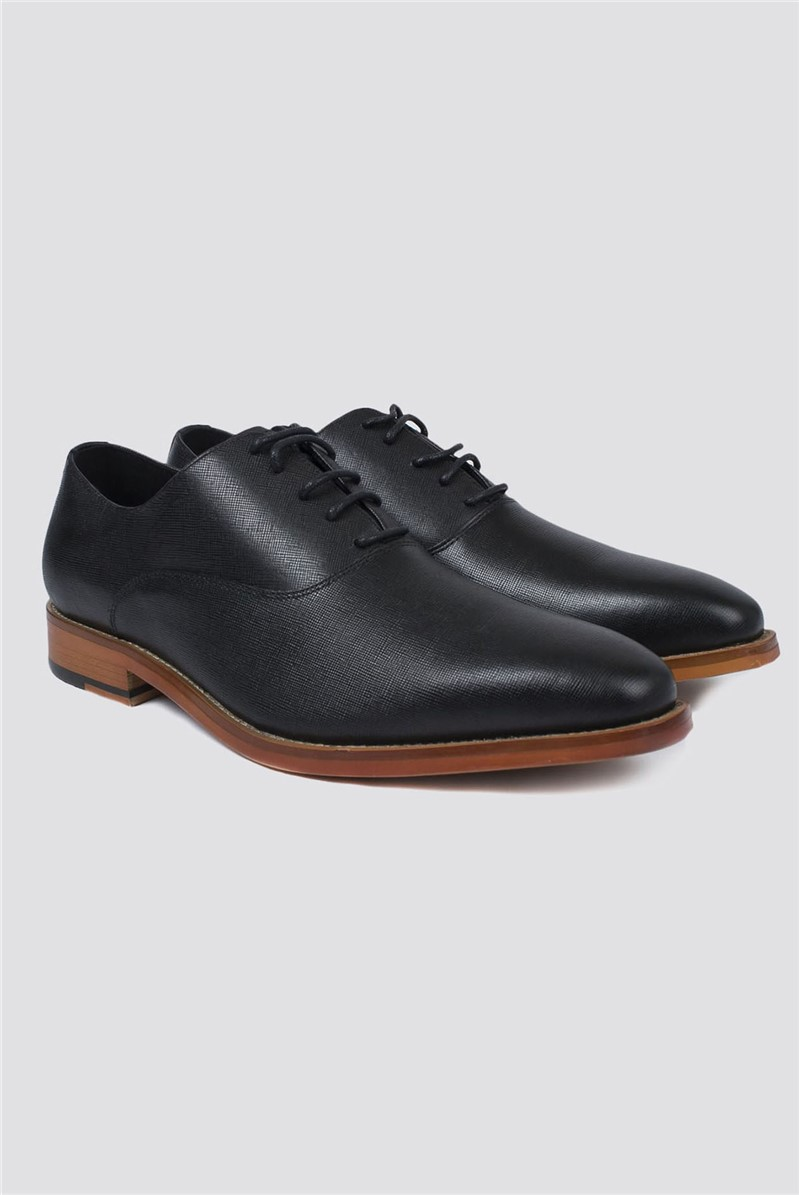 Jeff Banks Outlet Black Textured Saffiano Shoe